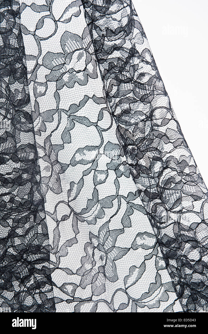 Draped Fancy Black Lace Detail - Stock Image
