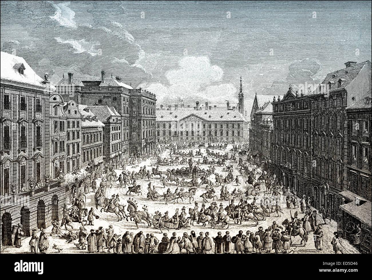Historical cityscape of Vienna, Imperial sleigh ride, The Neue Markt or Mehlmarkt, market place, 18th century, Austria, - Stock Image