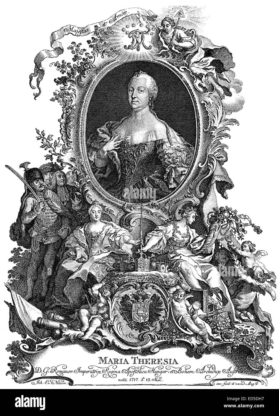 Maria Theresa of Austria, 1717 - 1780, Archduchess of Austria and Queen of Hungary, Croatia and Bohemia, Maria Theresia Stock Photo