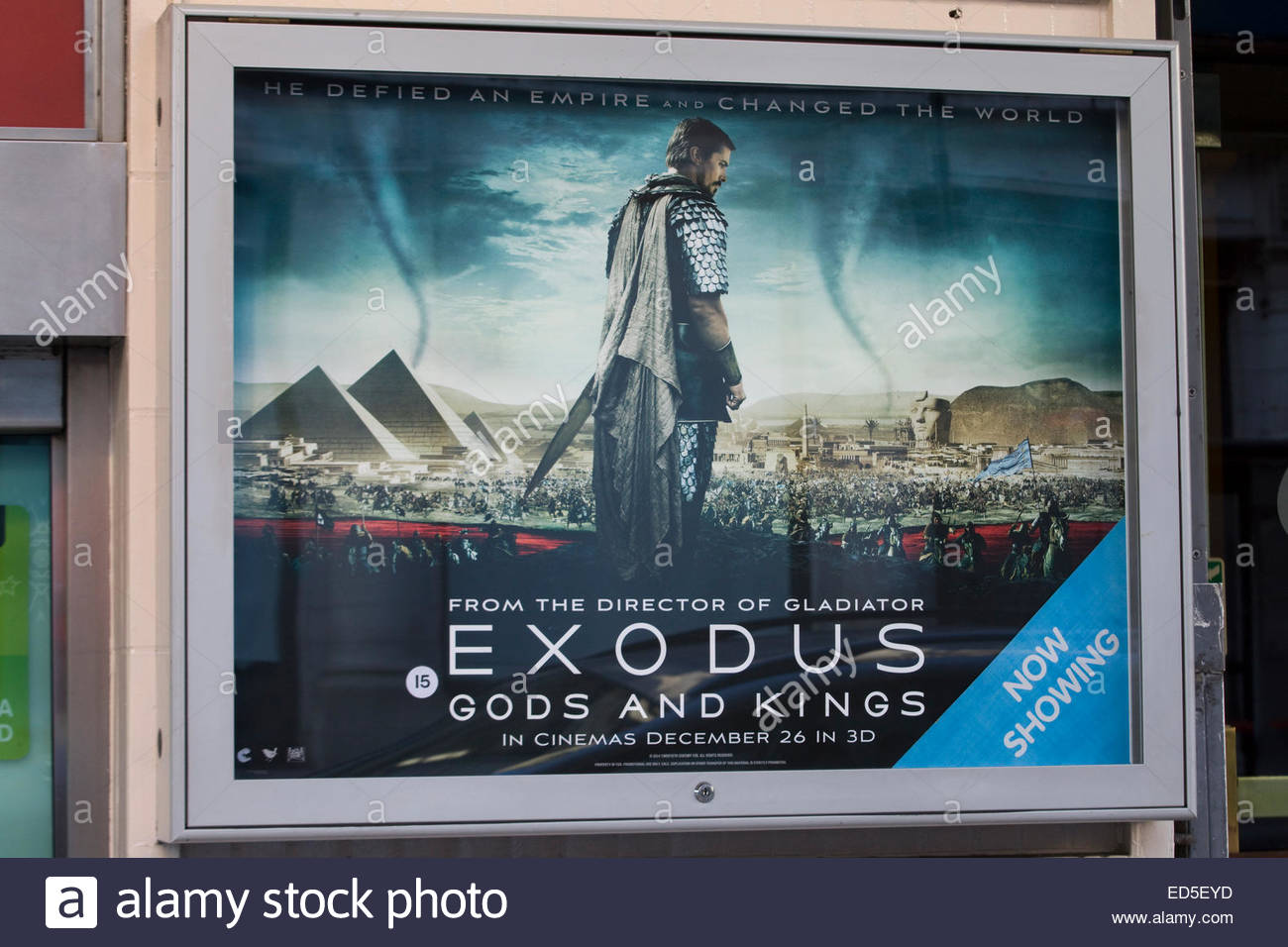 Billboard advertising the movie Exodus Gads and Kings - Stock Image