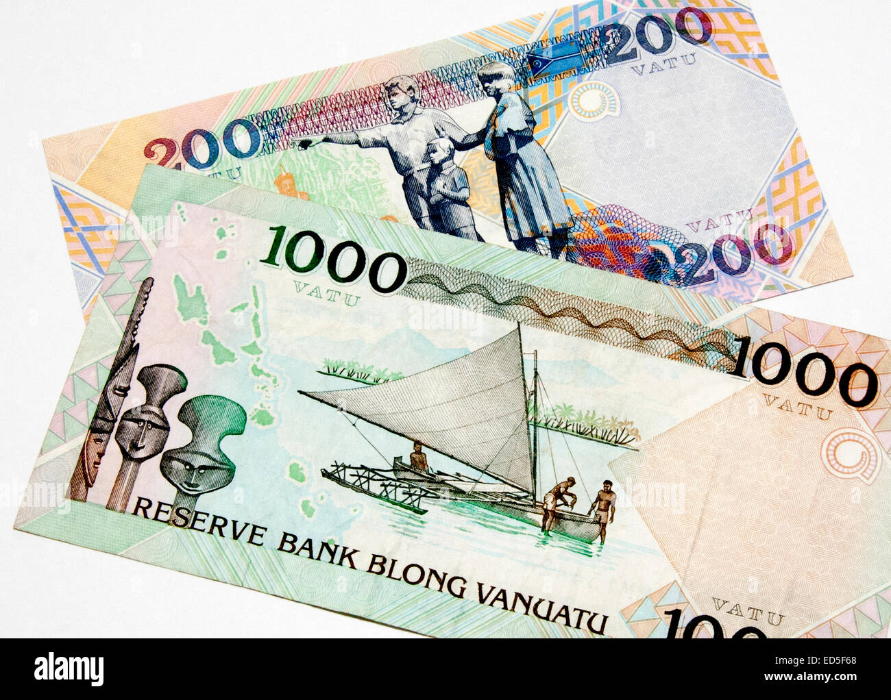 Vanuatu Bank Notes - Stock Image