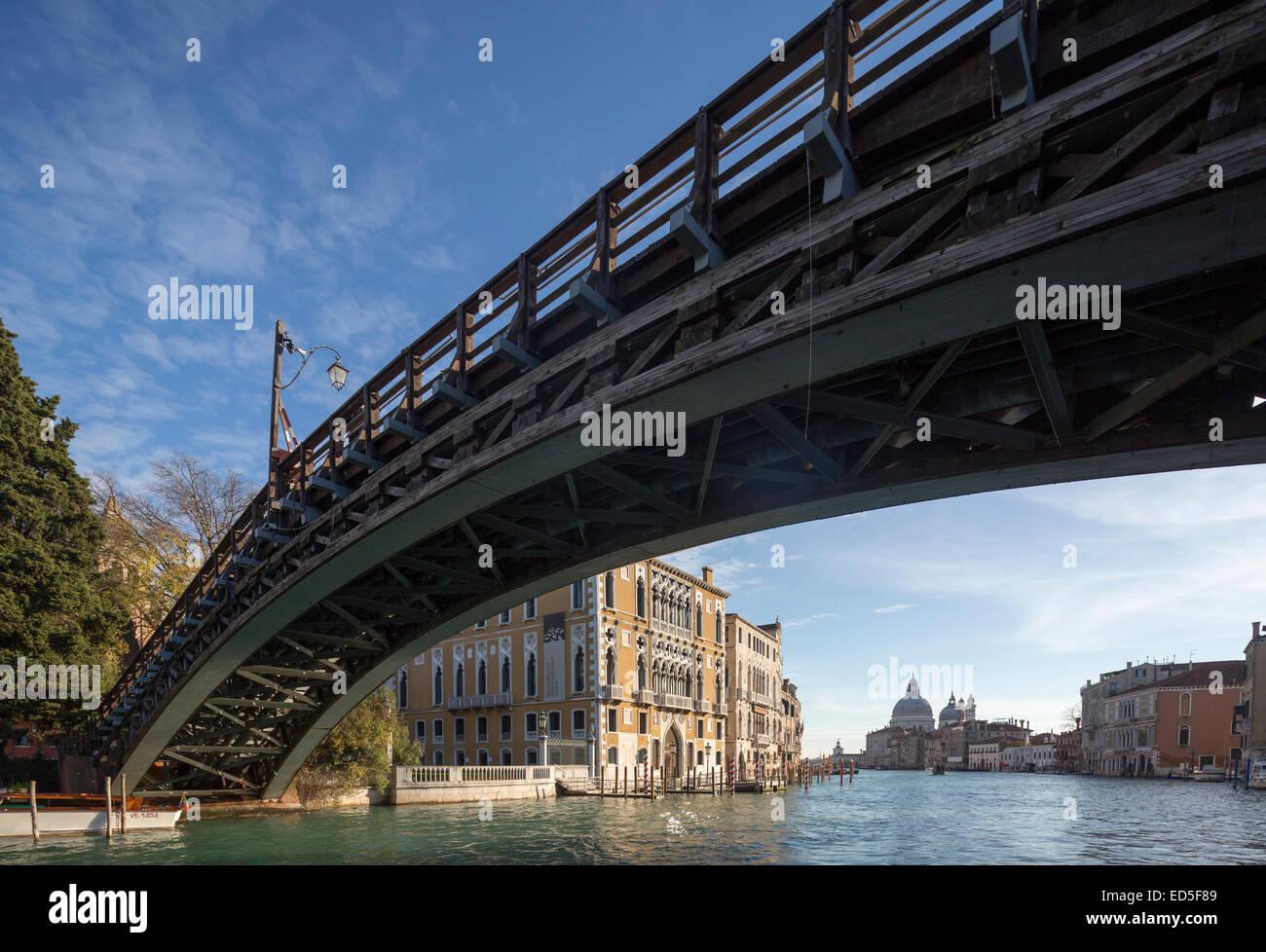 Accademia Bridge, Ponte dell'Accademia and Grand Canal, Venice, Italy - Stock Image