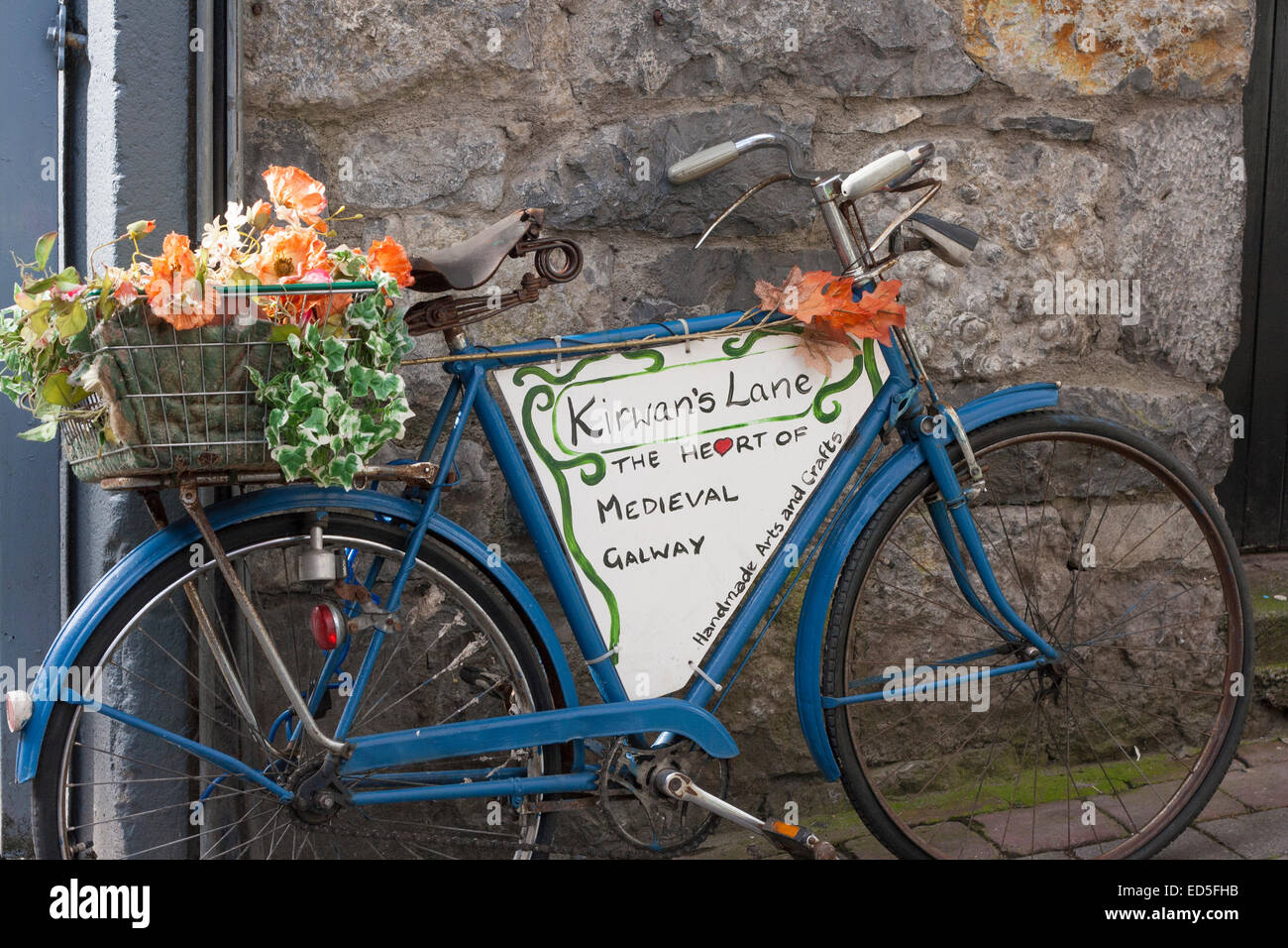 Bicycle with flowers used as signage for Kirwan's Lane in Galway city. - Stock Image
