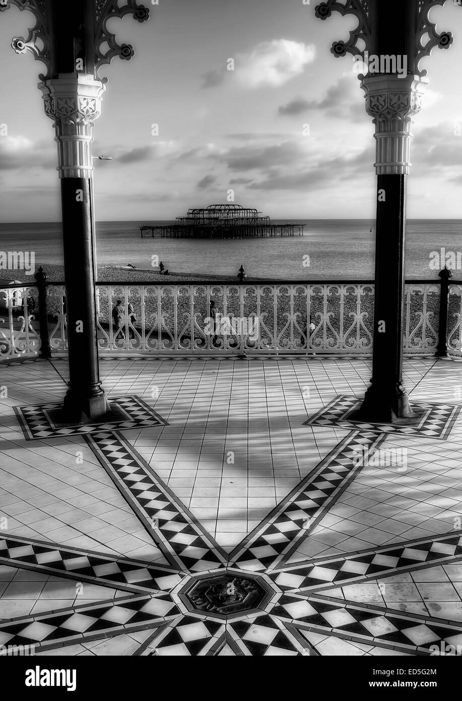 The view from Brighton Bandstand looking out over the West Pier that was burnt down in Brighton, East Sussex. - Stock Image
