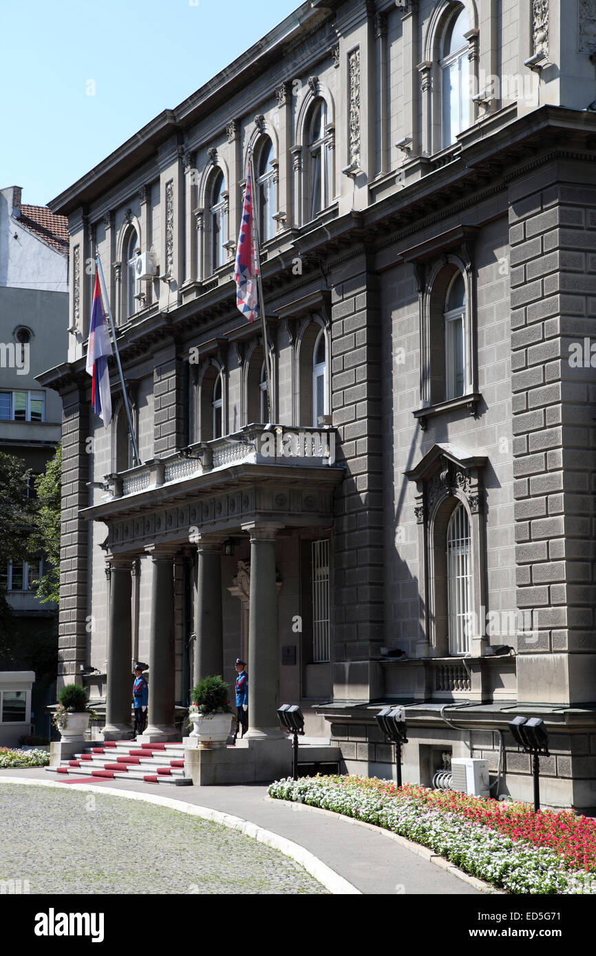 The Serbian Presidential Palace in Belgrade, Serbia. The New Royal Palace (Novi Dvor) was previously a royal residence. - Stock Image