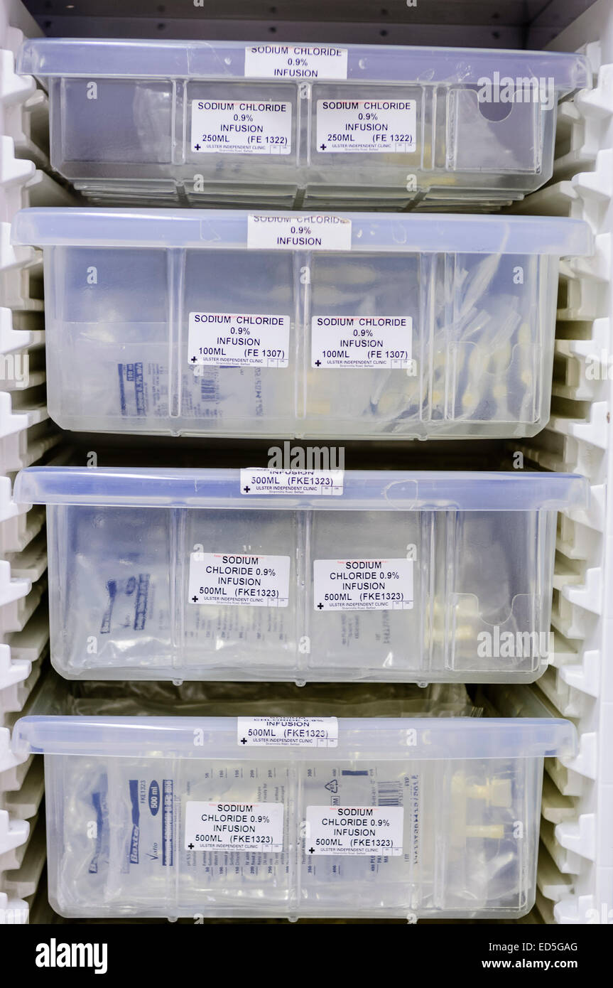 Hospital refrigerator with boxes of Sodium Chloride saline intravenous infusion bags. - Stock Image