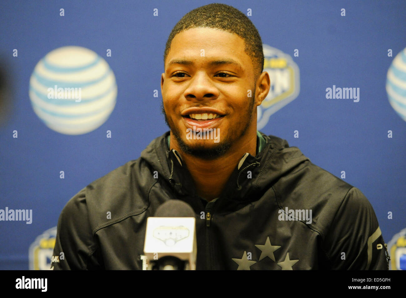 Baylor Bears receiver Corey Coleman talks with the media during the 79th AT&T Cotton Bowl Classic media press conference Stock Photo