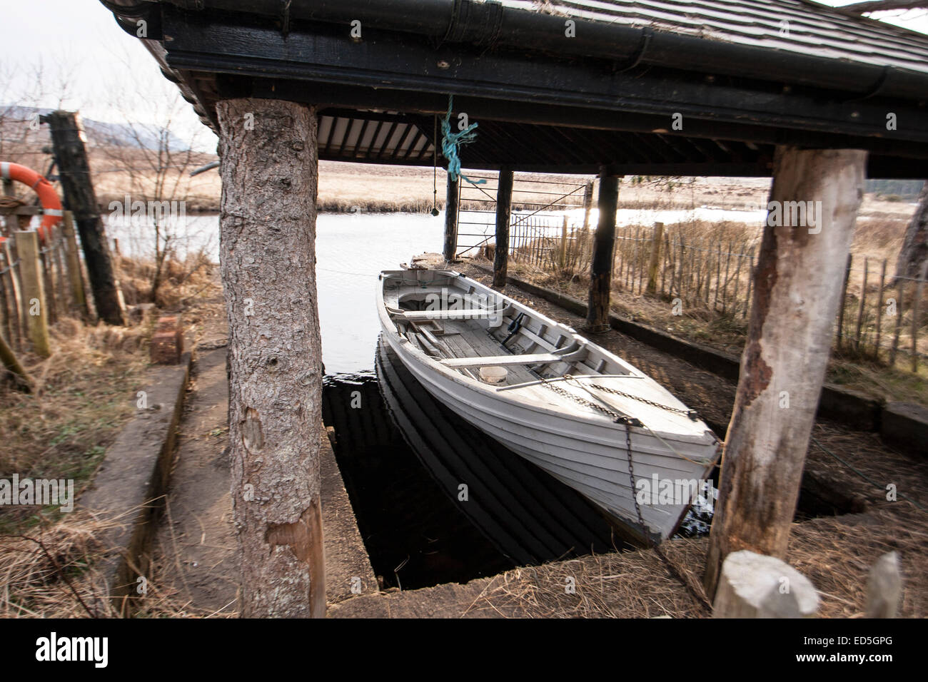 Boat in a boathouse at Glenveigh National Park, Co. Donegal, Ireland - Stock Image