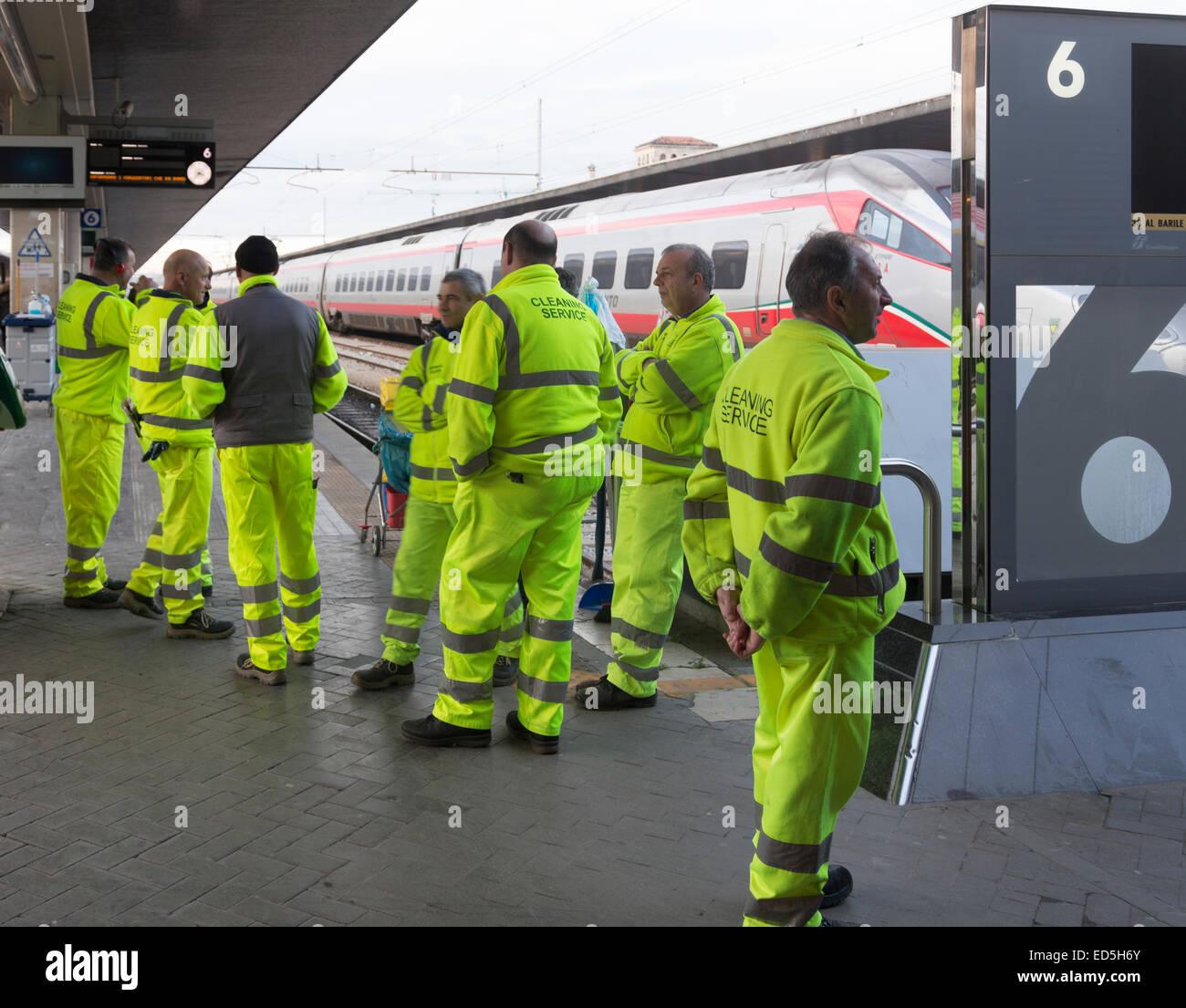 Trenitalia cleaning service crew, Santa Lucia Station, Venice, italy Stock Photo