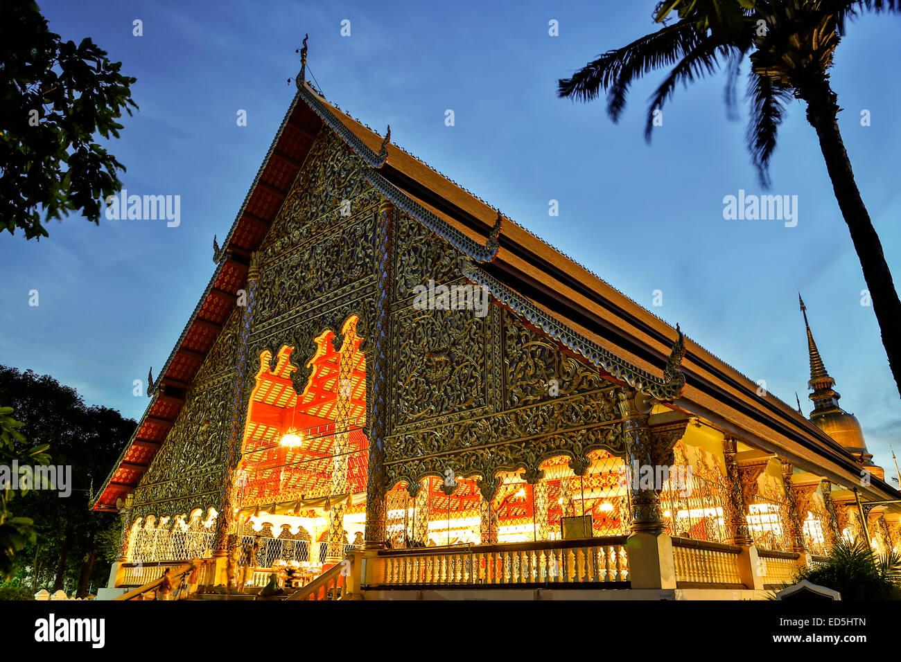 Prayer hall, Wat Suan Dok, Chiang Mai, Thailand - Stock Image