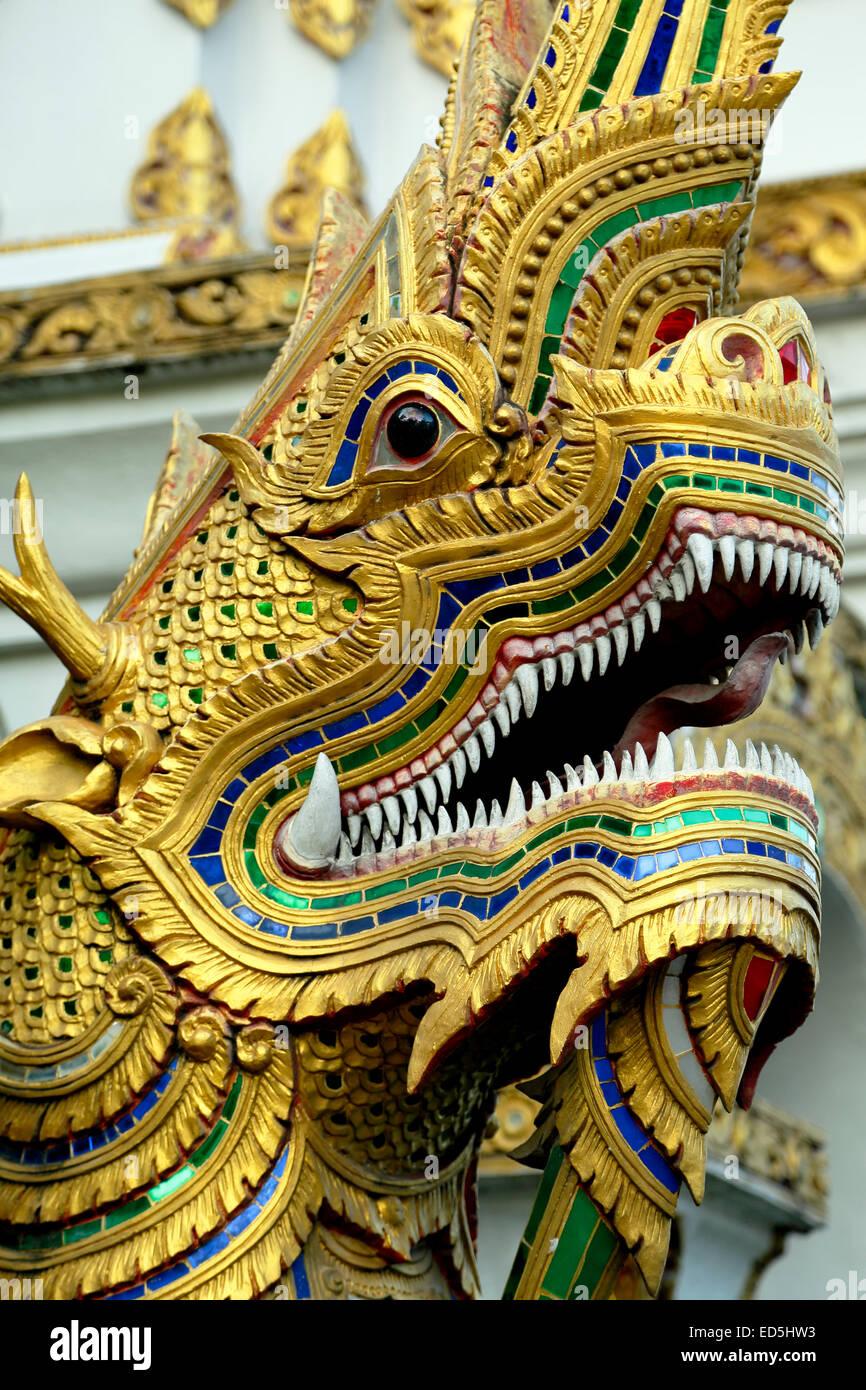 Dragon head, Wat Uppakut, Chiang Mai, Thailand - Stock Image