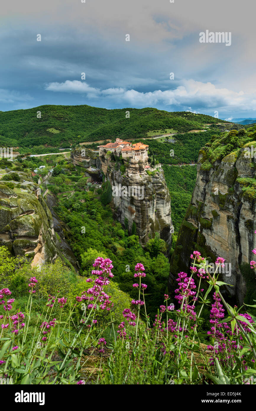 The complex of Orthodox monasteries of Meteora, Greece - Stock Image