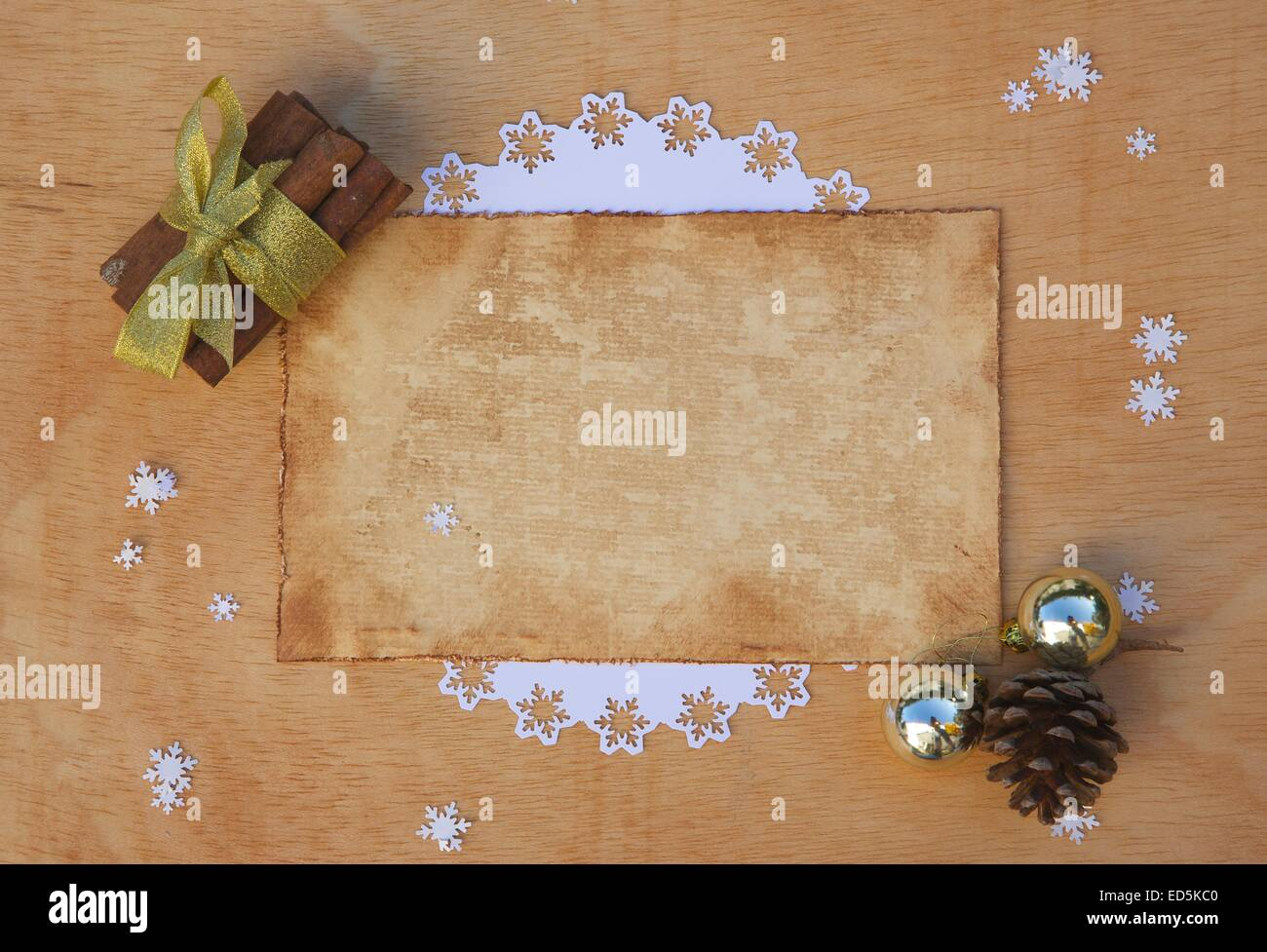 Winter holiday congratulations with free space for a text - Stock Image