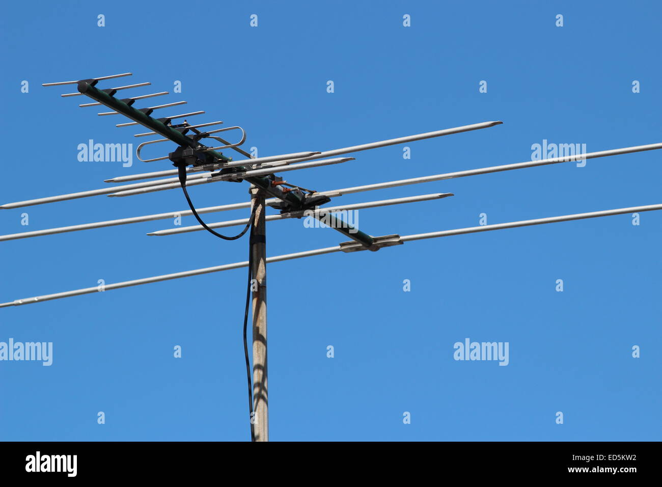 Tv Antenna Stock Photos Images Alamy Wire Diagram Television Against Blue Sky Image