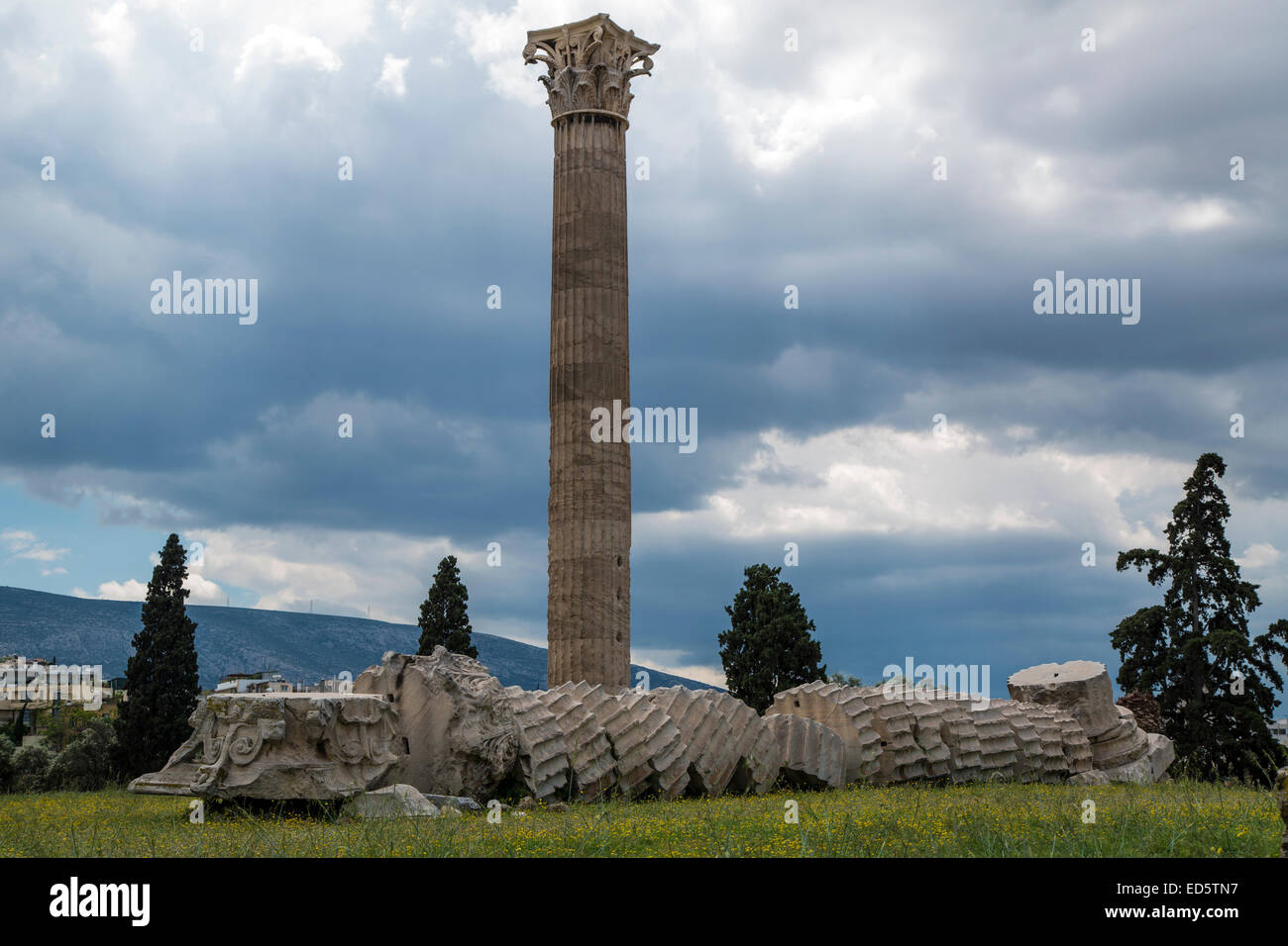 Temple of Olympian Zeus in Athens, Greece - Stock Image