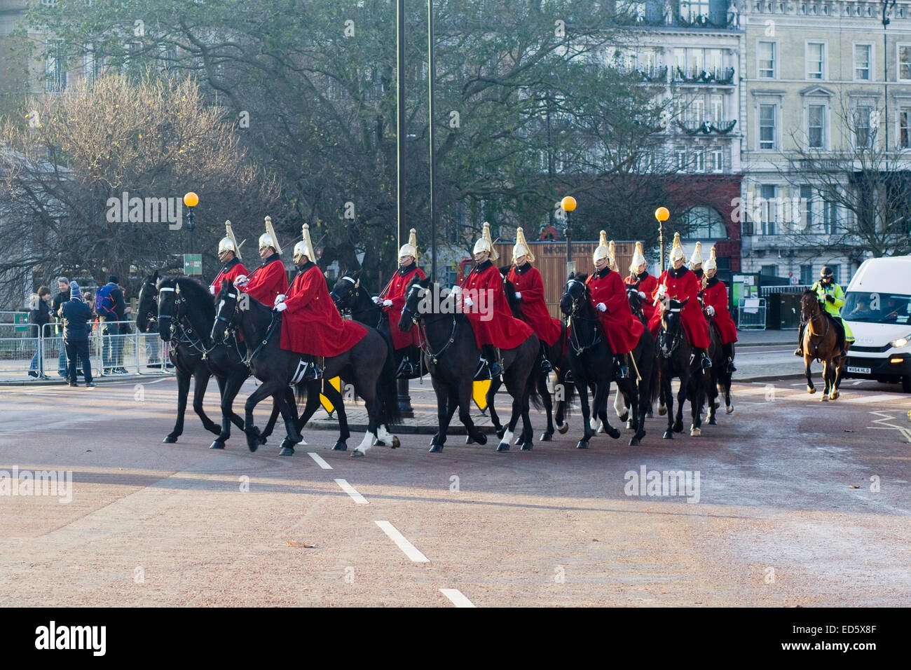 Horseguards riding from Hyde Park to Horseguards Parade for the changing of the guard London Stock Photo