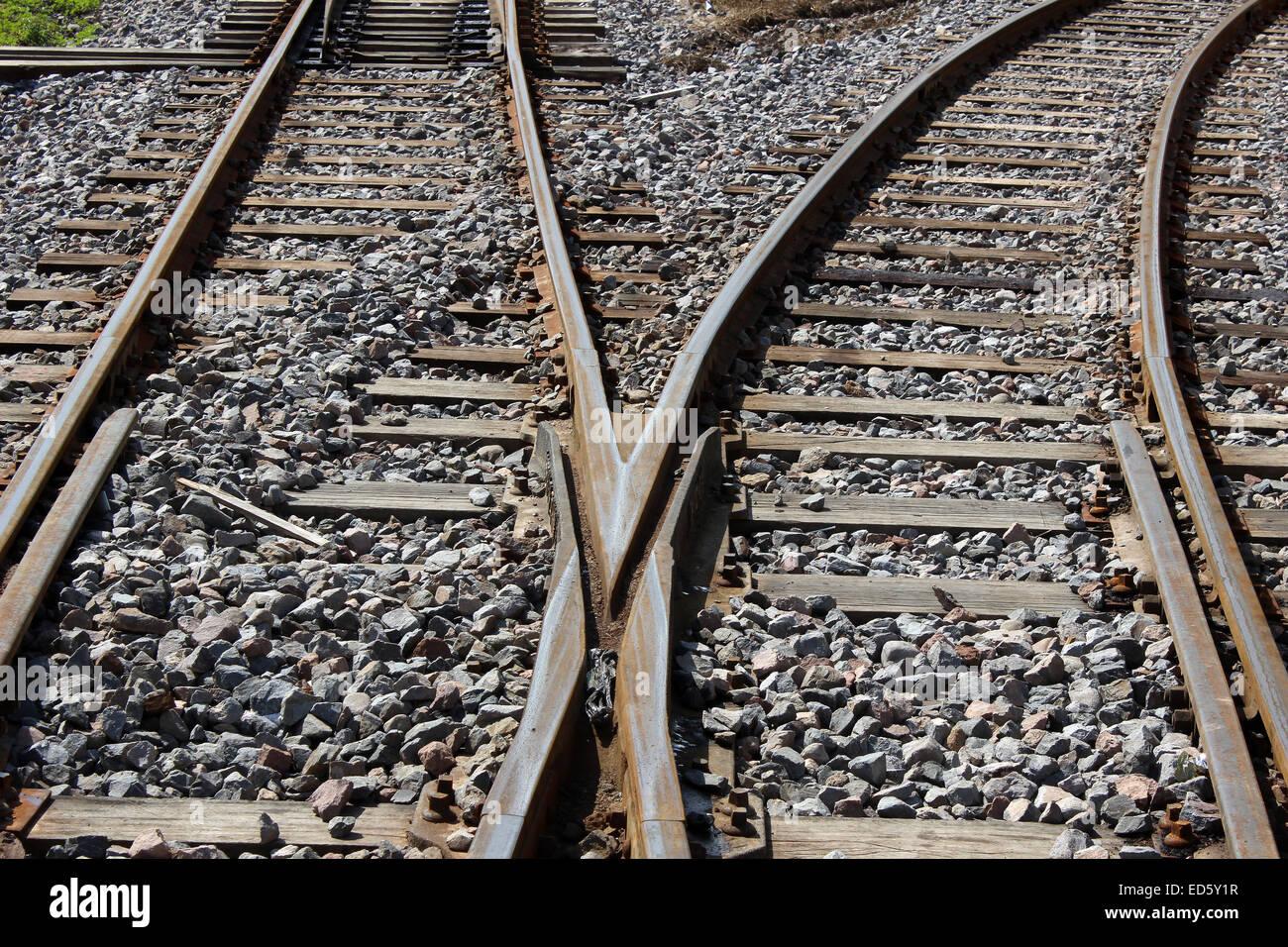 Railway tracks in a rail yard in Ibarra, Ecuador - Stock Image