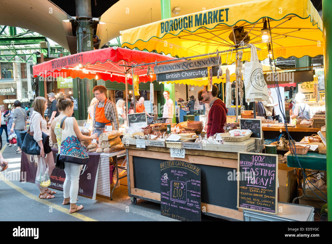Borough Market stalls, London, England, UK - Stock Image
