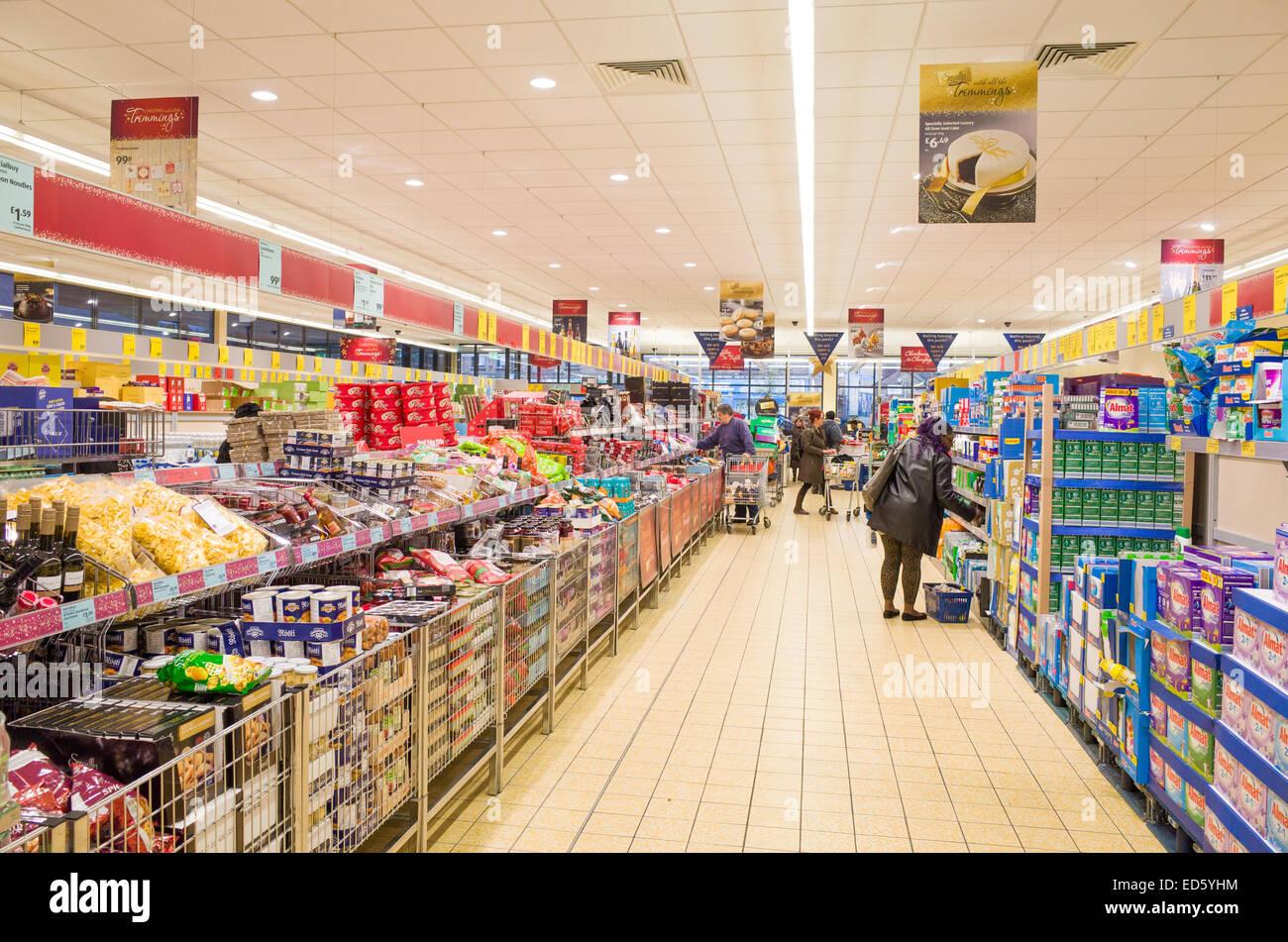 Aldi supermarket aisle, London, England, UK Stock Photo