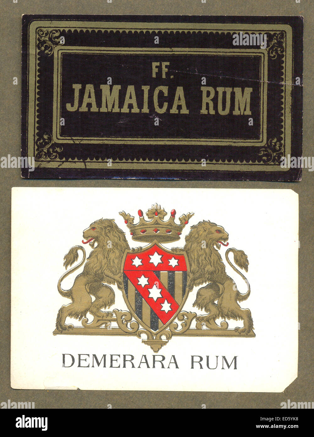 Victorian labels for rum - Stock Image