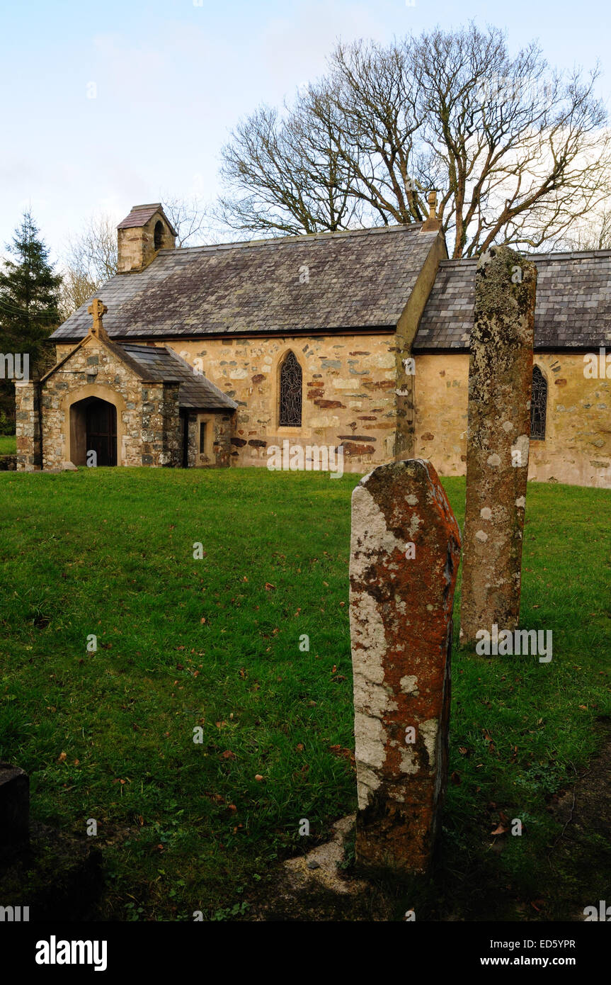 Two 6-9th century pillar stones   inscribed with Latin crosses in churchyard of St  Brymachs Church Pontfaen Pembrokeshire - Stock Image