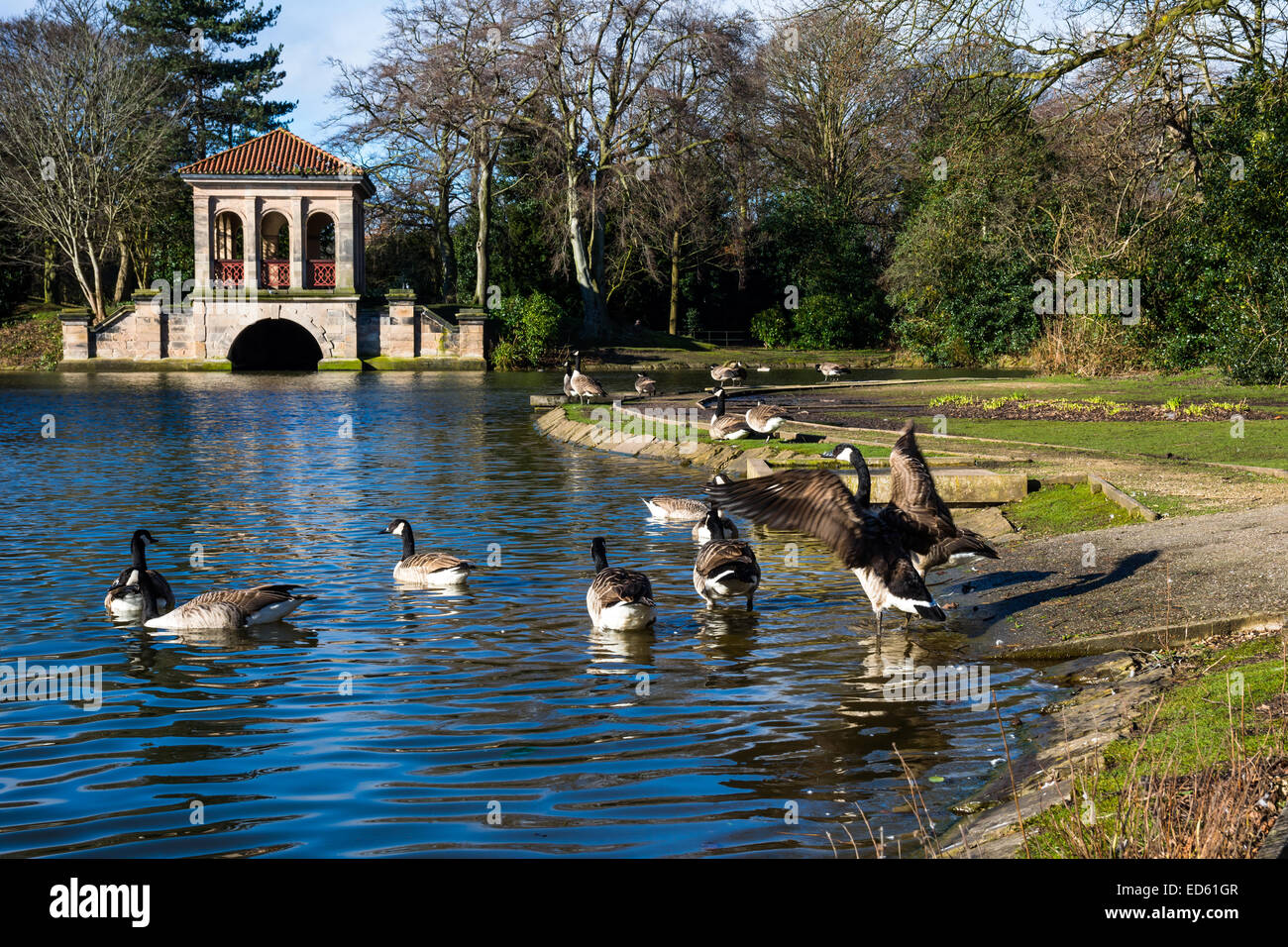 This Boathouse in Birkenhead Park, Wirral, UK was originally designed by the Liverpool architect Lewis Hornblower. - Stock Image