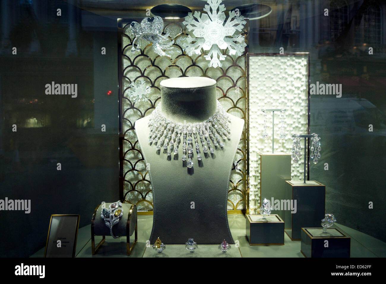 Jewellry in the shop window of Graff jewellers at Christmas time in Old Bond Street, London UK  KATHY DEWITT Stock Photo