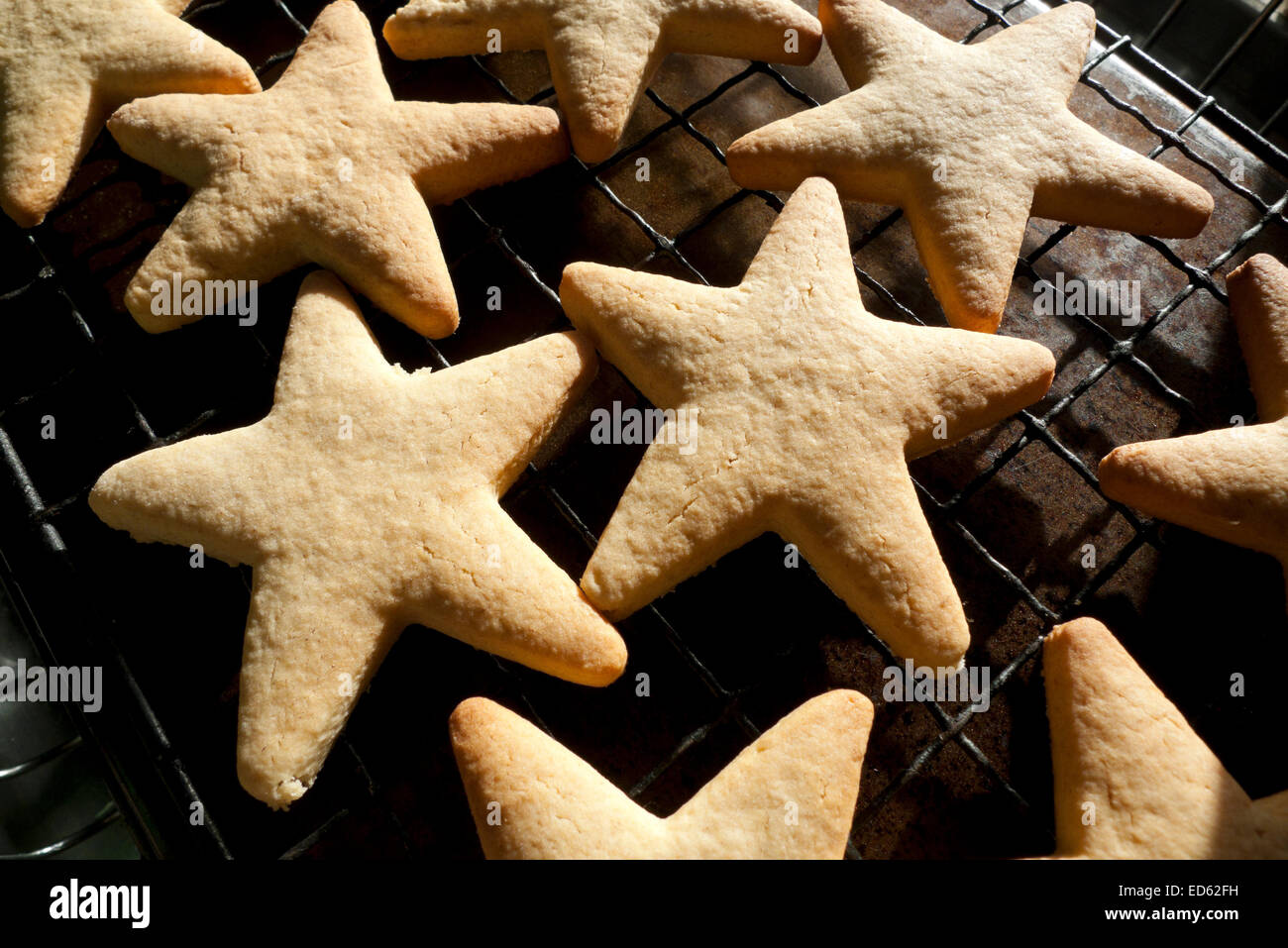 Christmas Cookies In The Shape Of Stars Just Out Of The Oven Wales