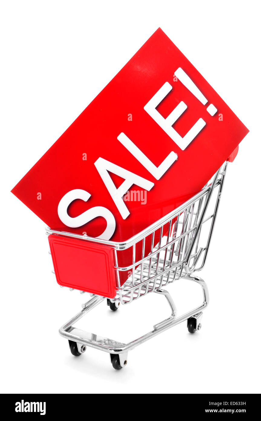 a red signboard with the word sale written in it in a shopping cart, on a white background - Stock Image