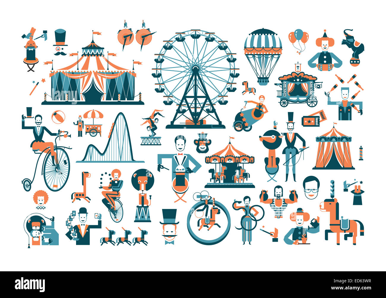 cute circus performance related items - Stock Image