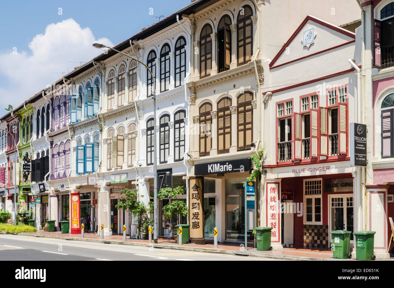 Singapore terraced colourful shophouses in Tanjong Pagar Rd, Singapore - Stock Image
