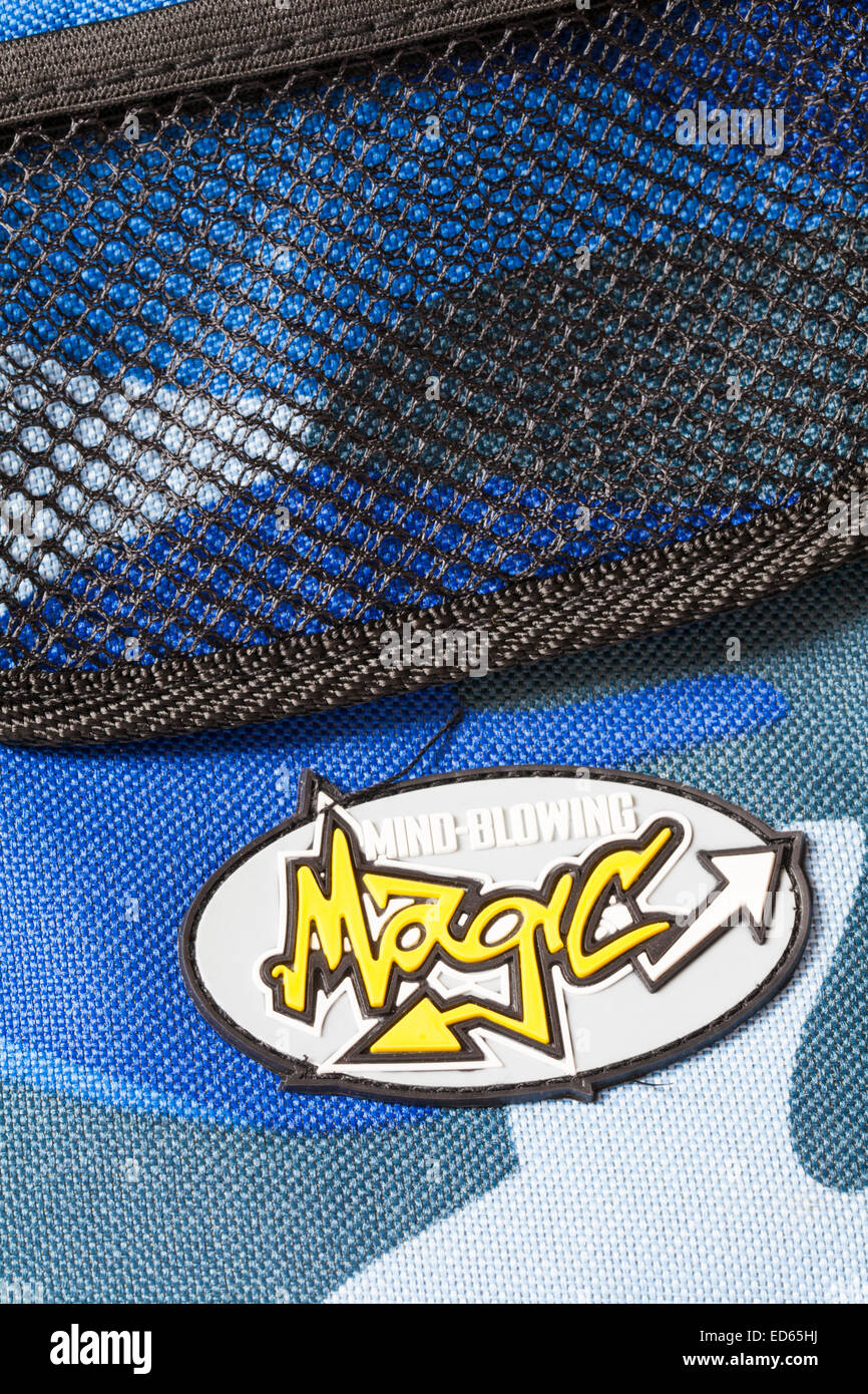Mind-blowing Magic logo on Marvin's Magic backpack - Stock Image