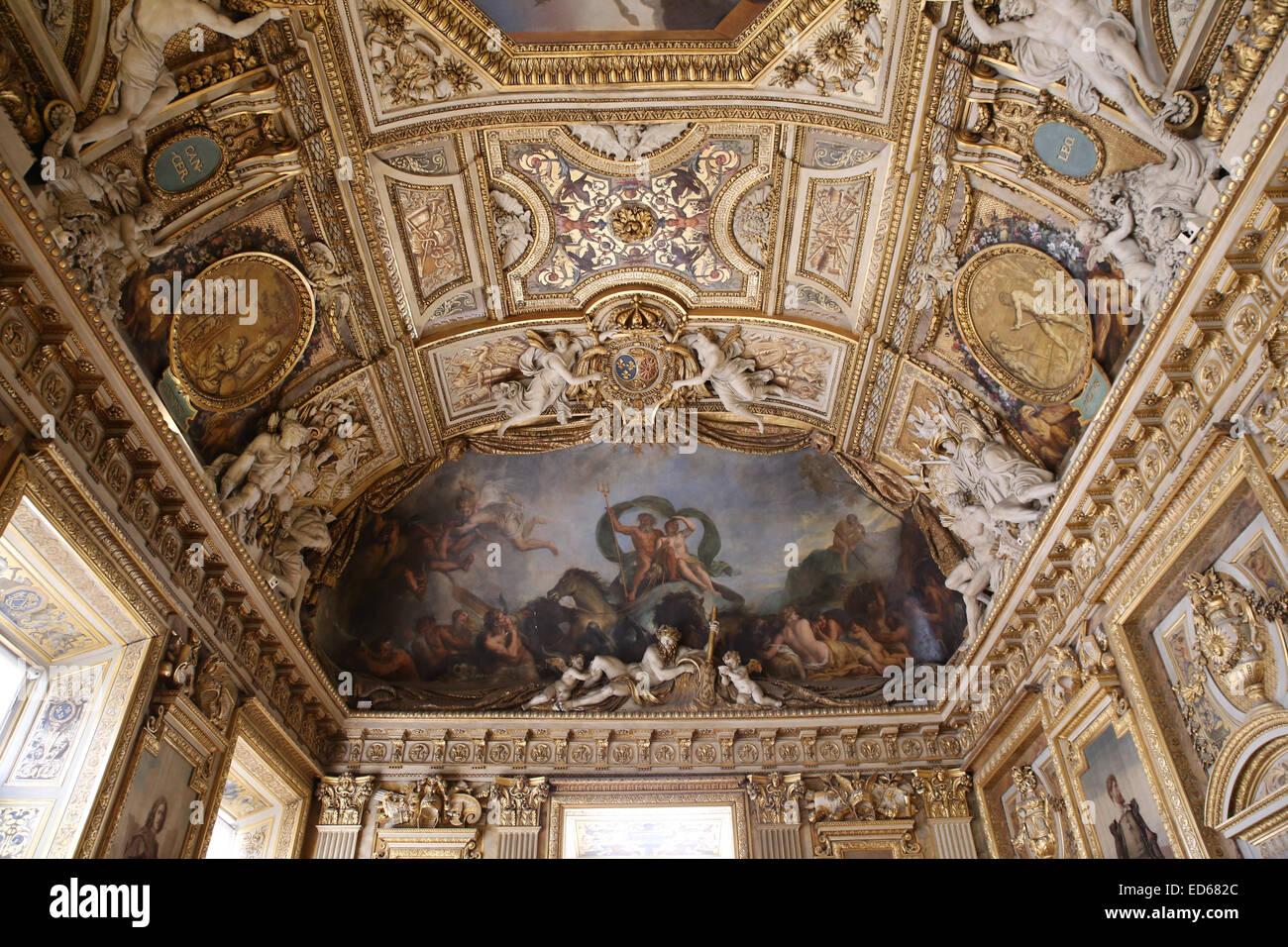 Galerie d'Apollon ceiling Louvre - Stock Image