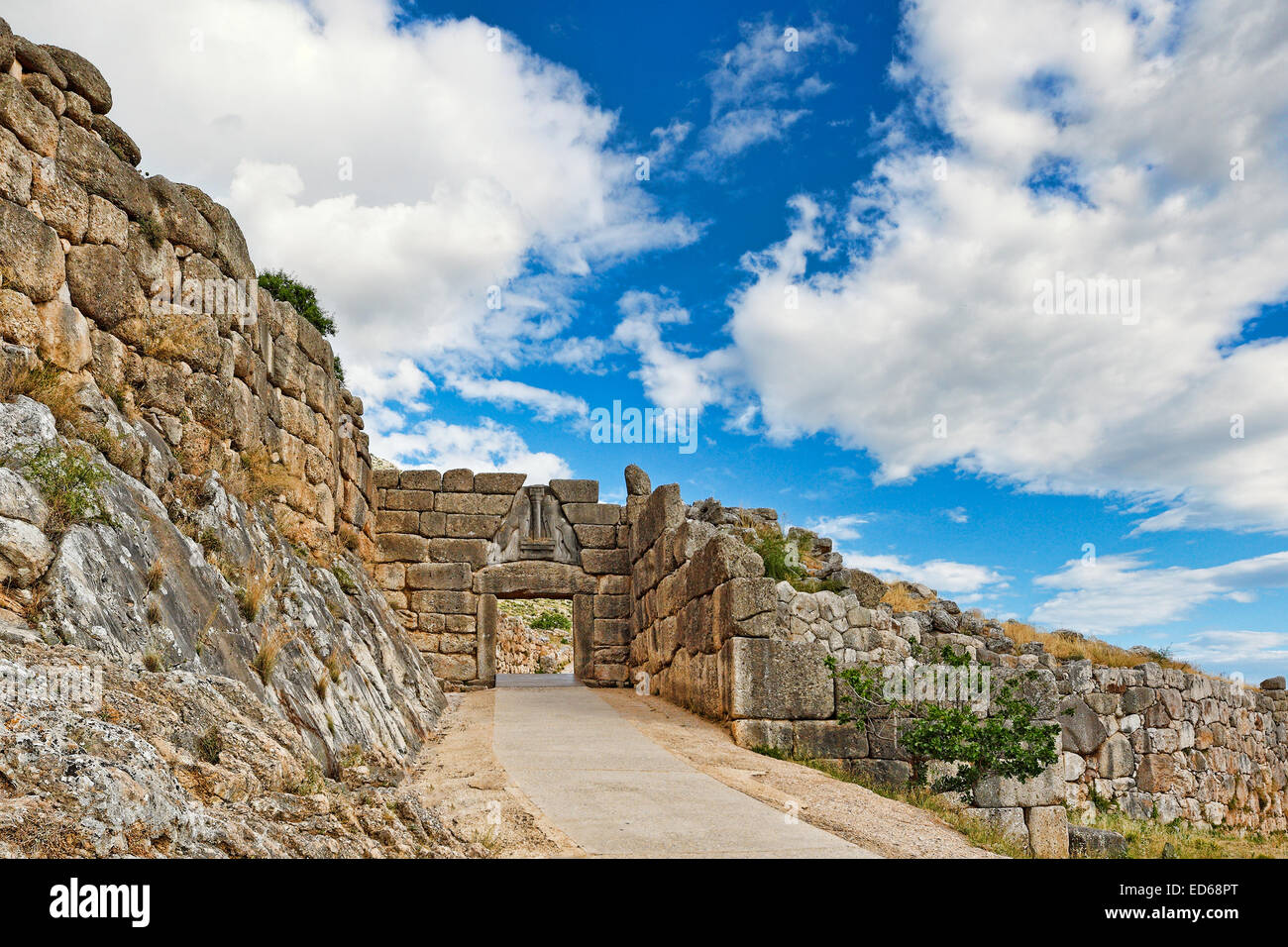 The road to Lion Gate (1.240 B.C.) Mycenae, Greece - Stock Image