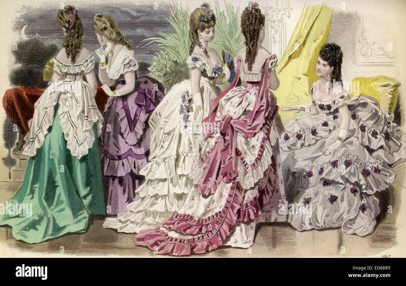 Bustle French Fashion Plate Showing German Fashions In