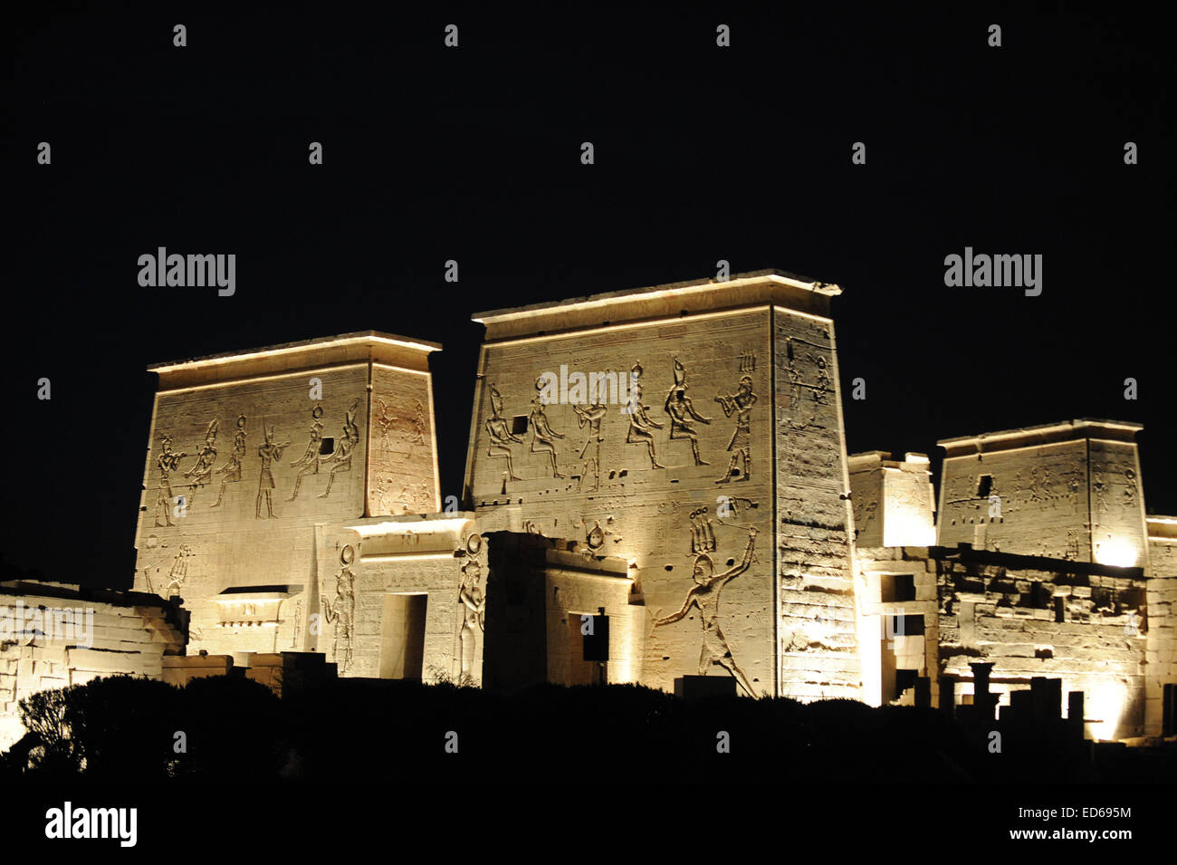 Egypt Temple of Philae from Nile - Stock Image