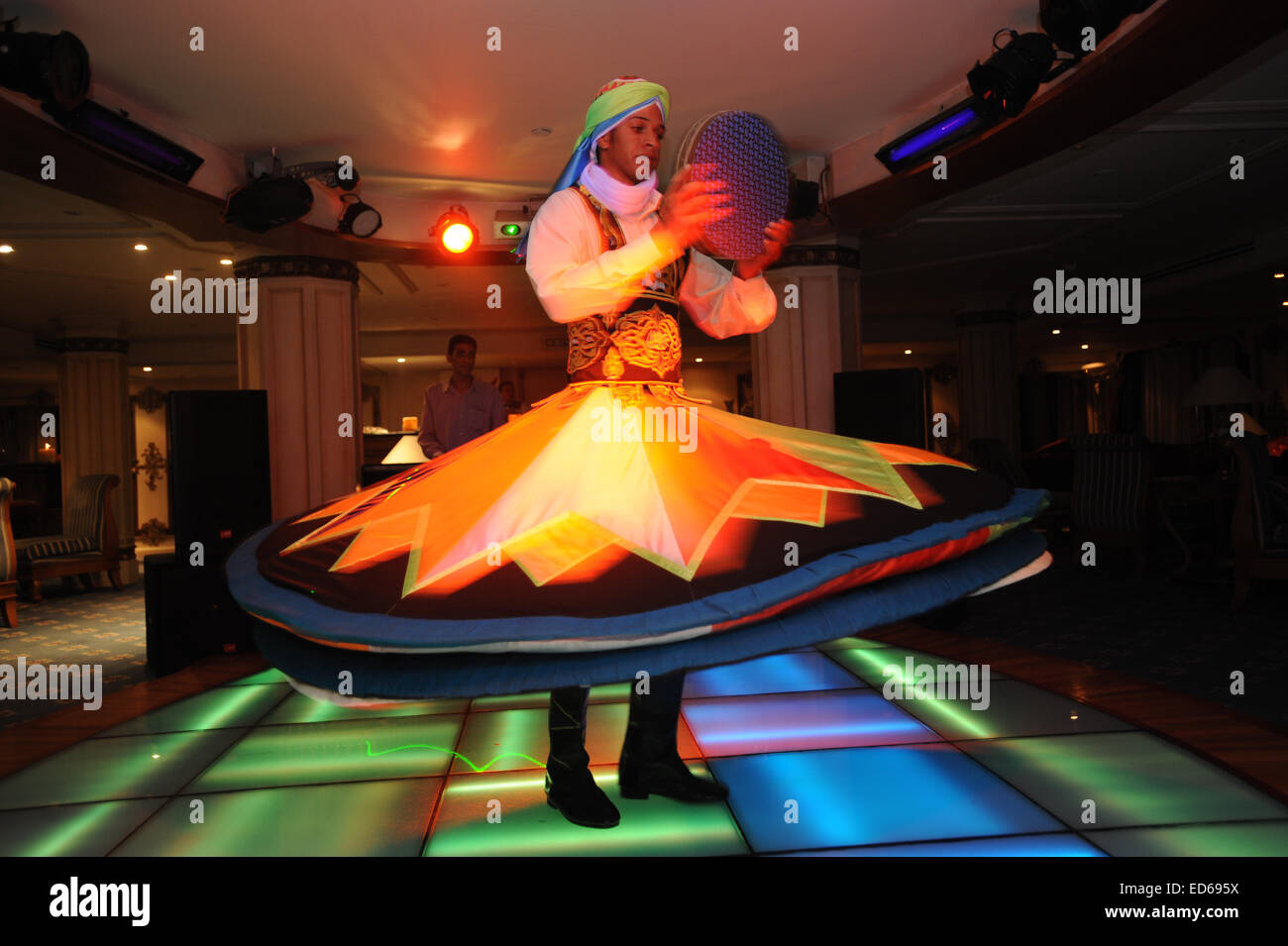Egypt show a whirling dervish, Dance Traditional local costume. - Stock Image