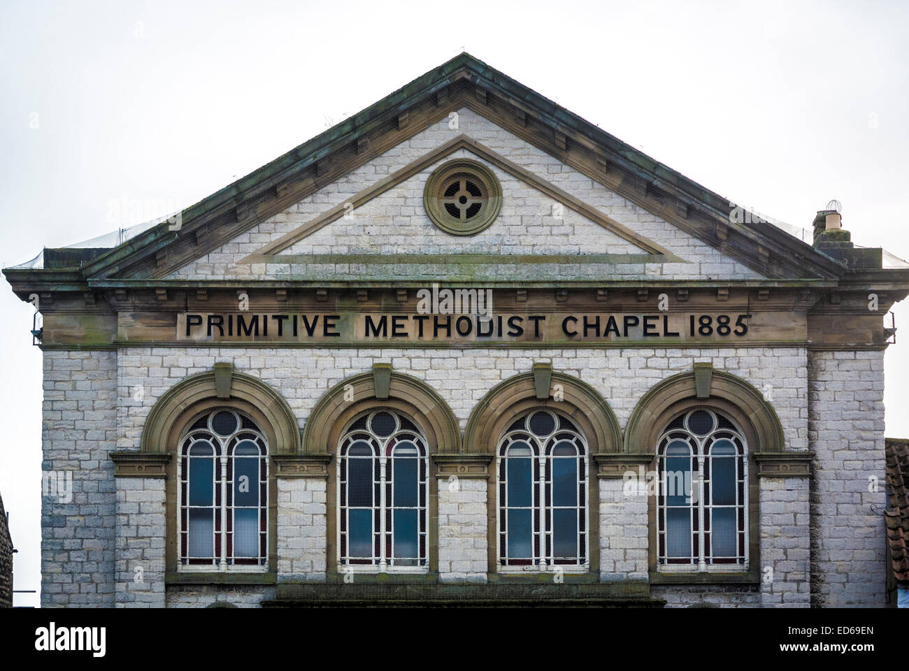 Primitive Methodist Chapel building and sign, Pickering, North Yorkshire, UK. - Stock Image