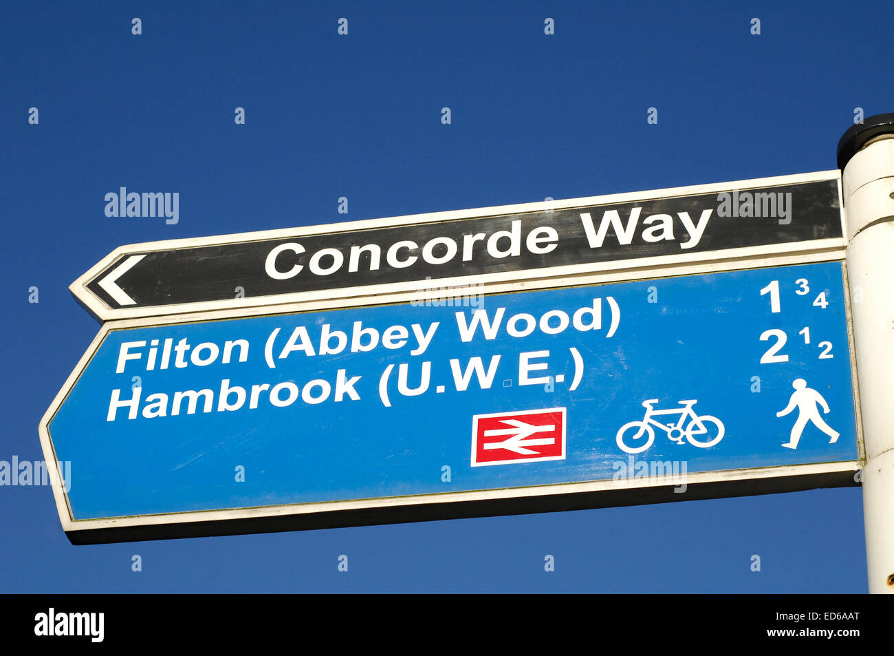 Concorde Filton Abbey Wood MOD sign Bristol - Stock Image