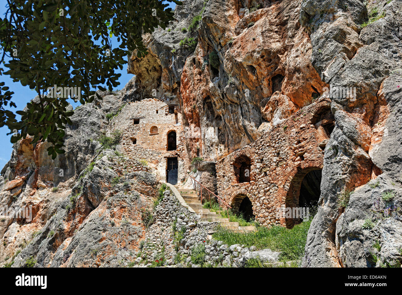 Vrontama Monastery in Laconia Peloponnese, Greece. - Stock Image