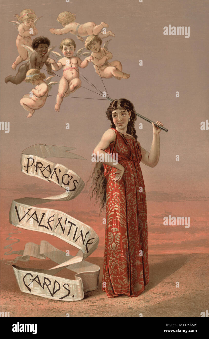 LOUIS PRANG (1824-1909) An 1883 advert for the American printer's Valentine Cards - Stock Image
