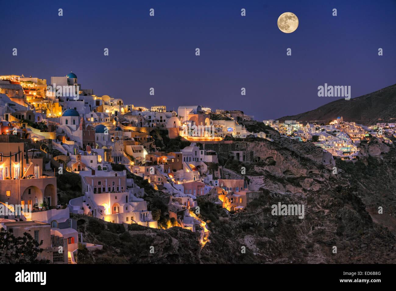 Oia by night in Santorini island, Greece - Stock Image