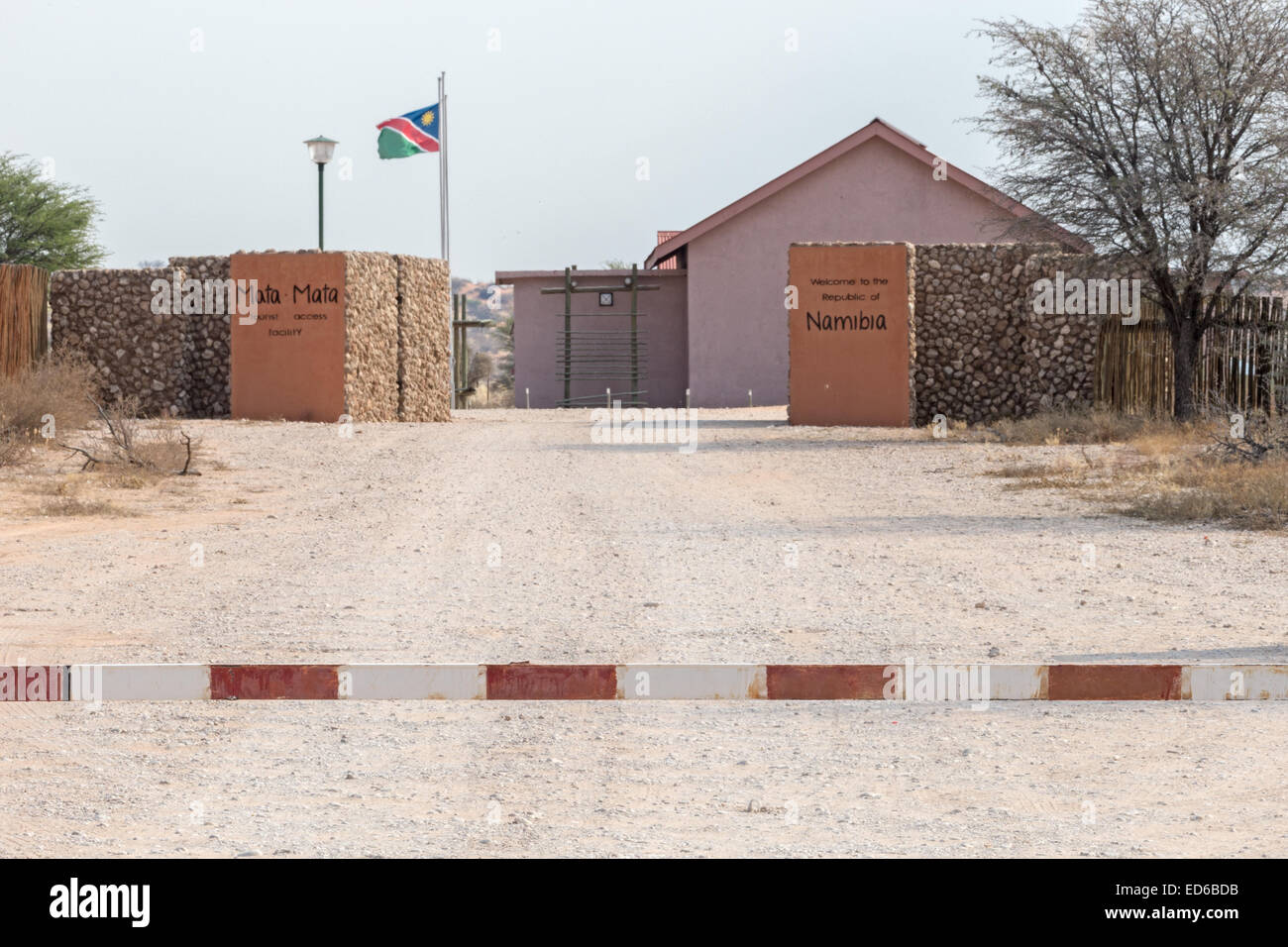 South African namibian border Mata-Mata Kgalagadi Transfrontier Park South Africa - Stock Image