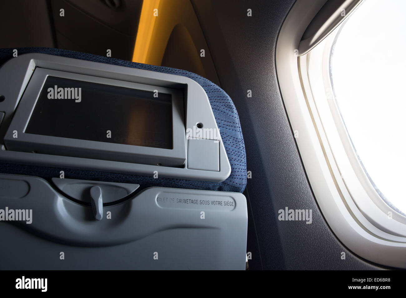 airplane window seat - Stock Image