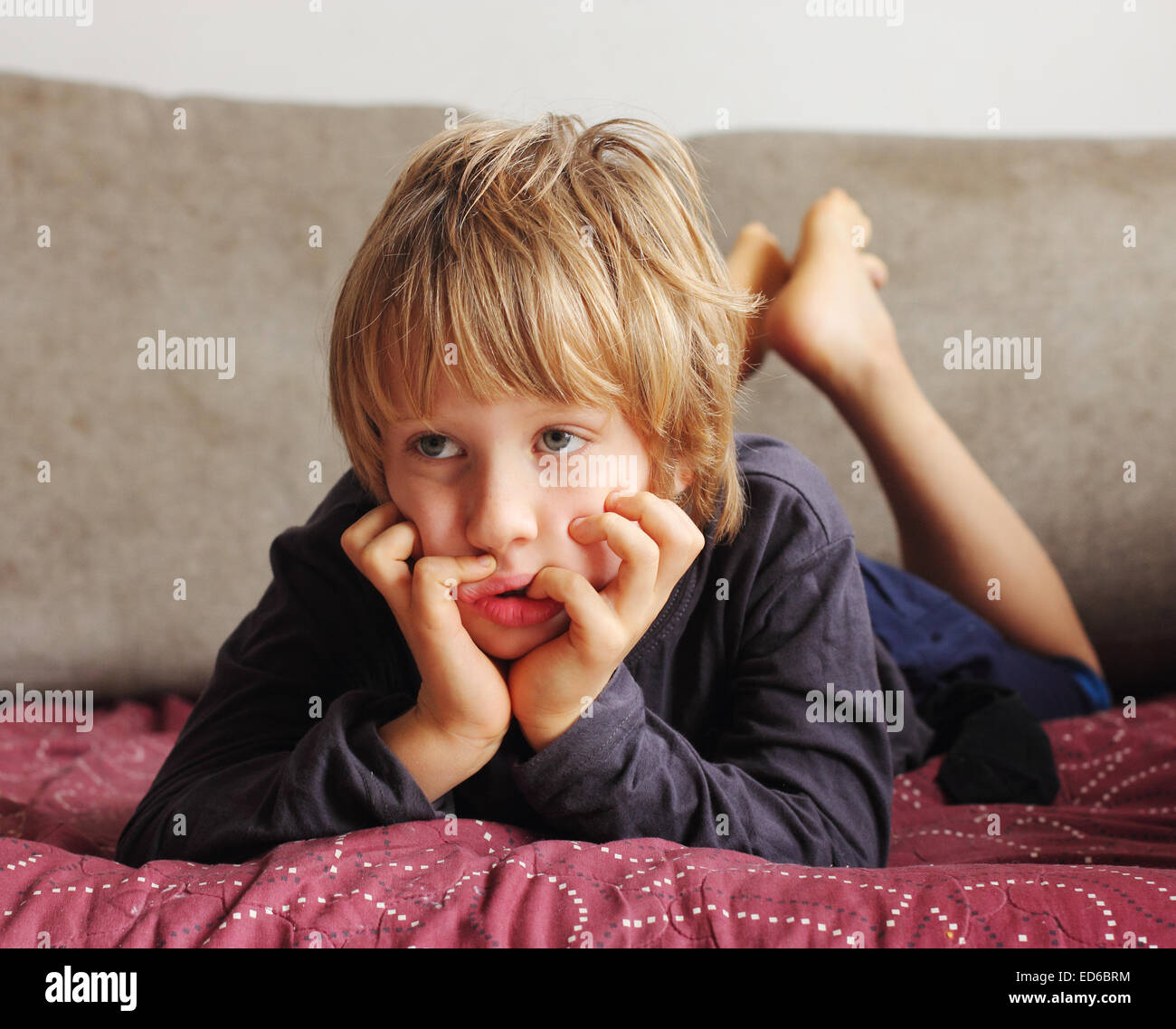 portrait of cute 5 years old child boy - Stock Image