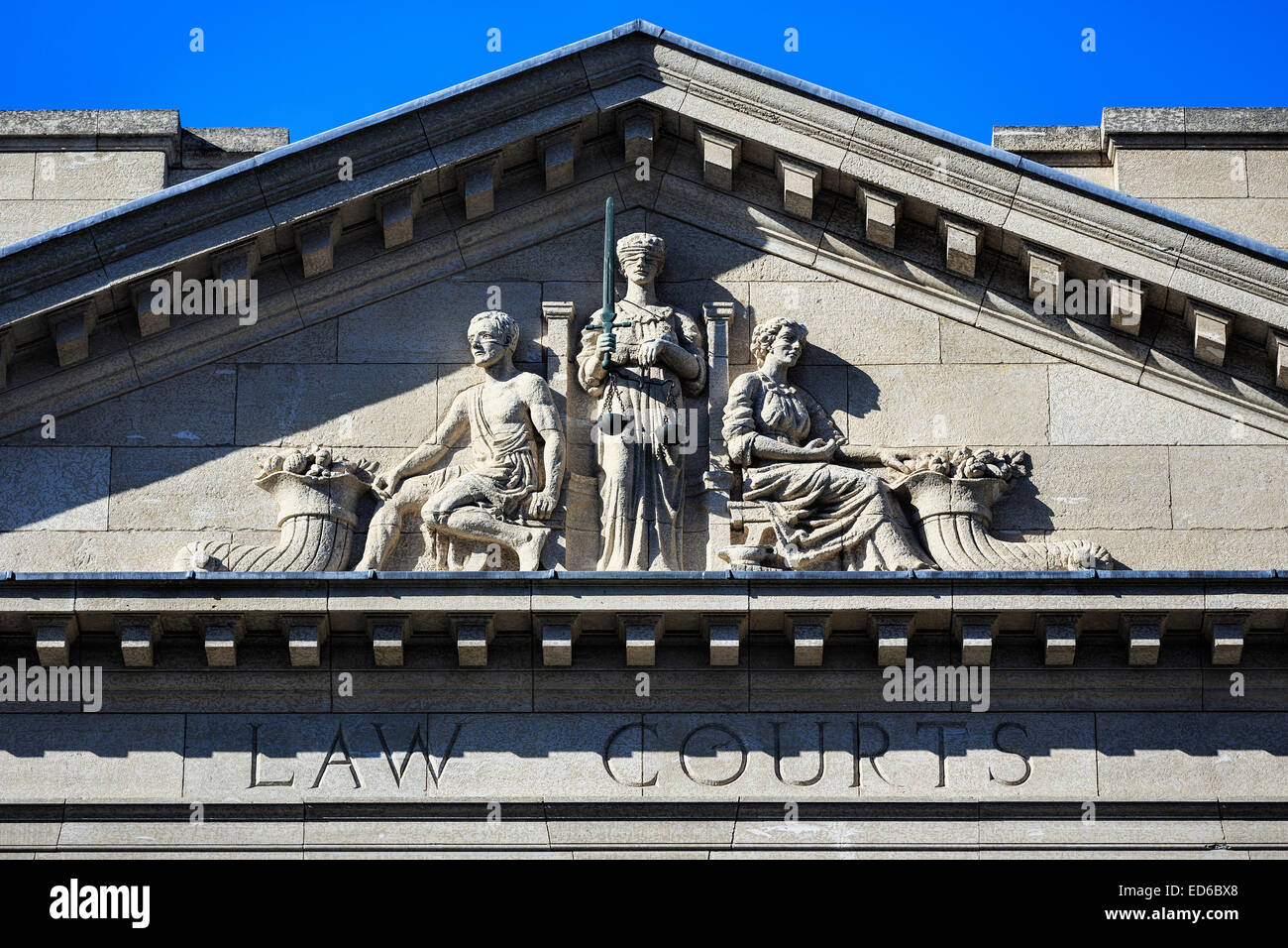 Scales of Justice on the Law Courts Building, Winnipeg, Manitoba, Canada. - Stock Image