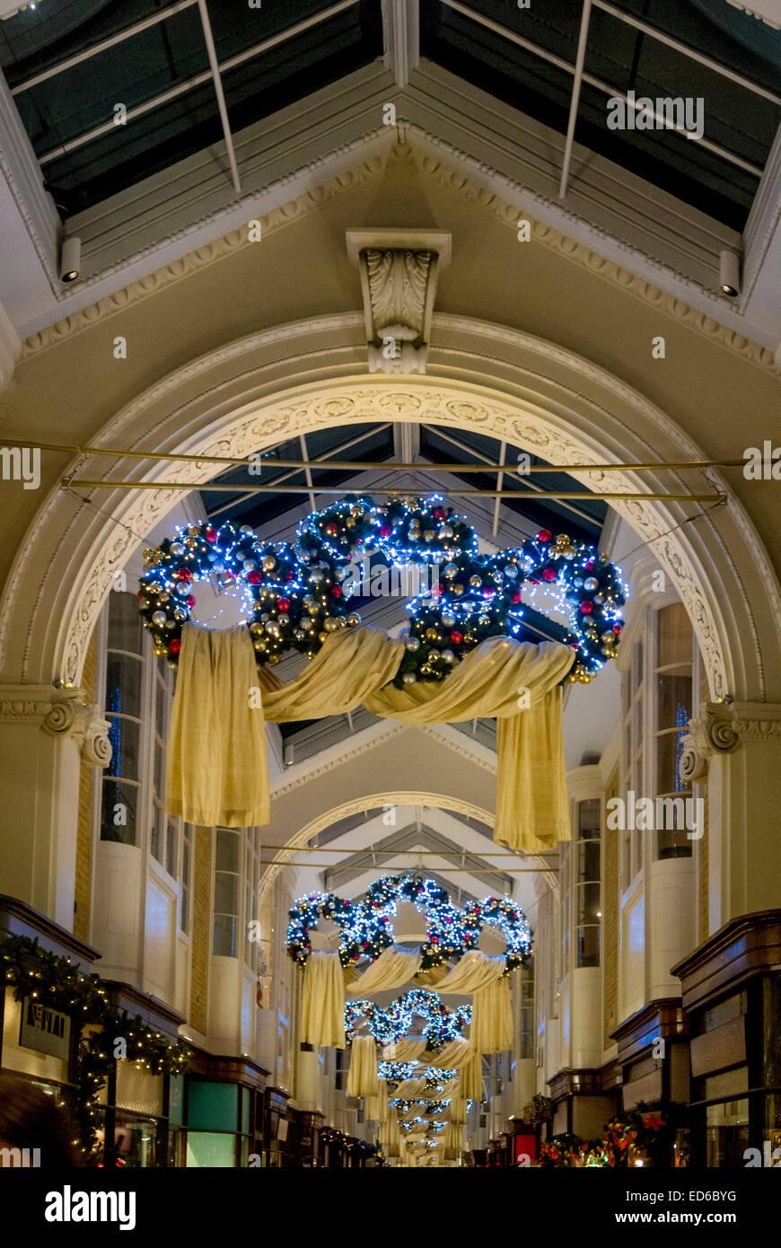 Christmas decorations in Burlington Arcade, London, UK. - Stock Image