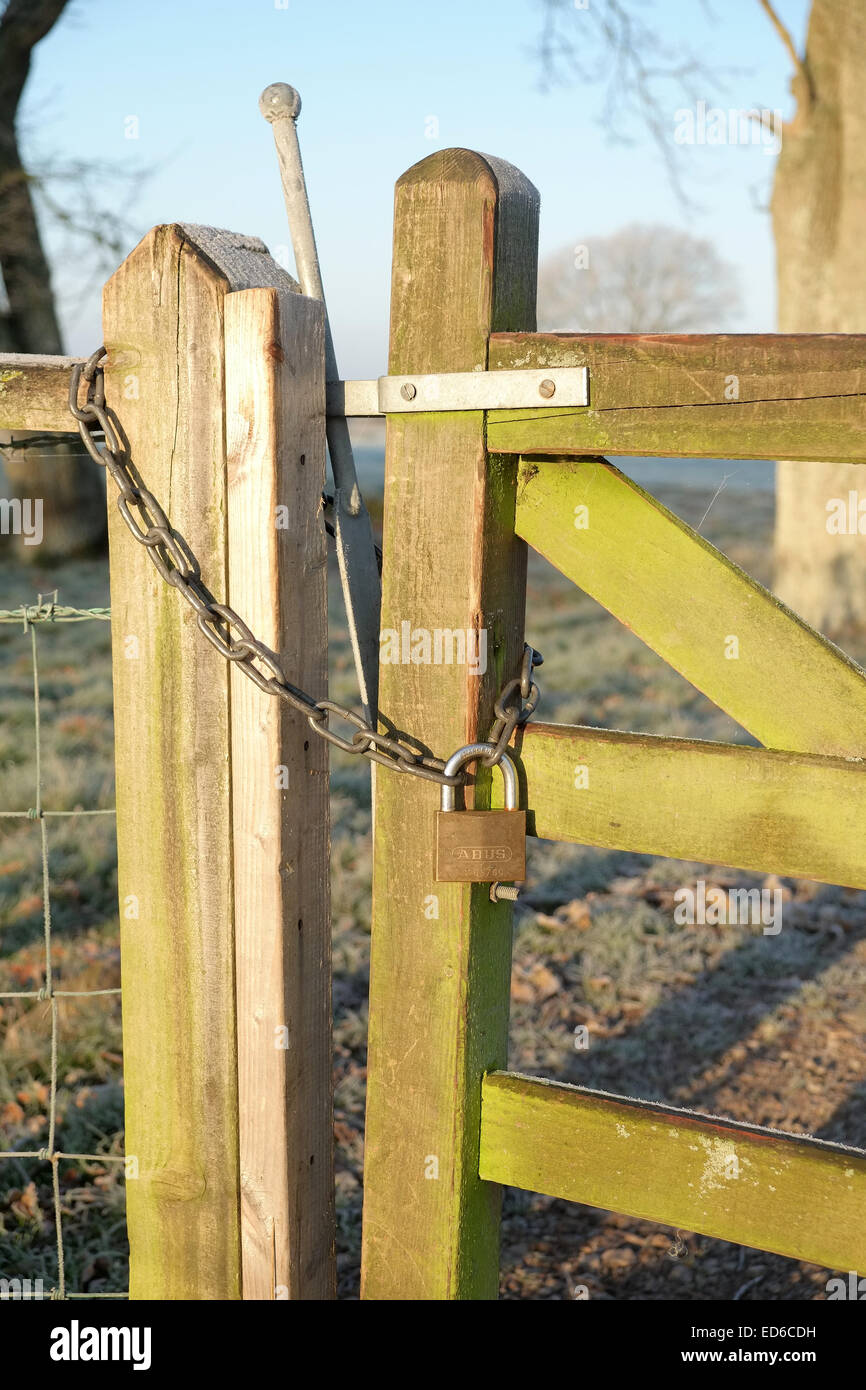 Secured farm gate latch with lock and chain. 29th December 2014 - Stock Image