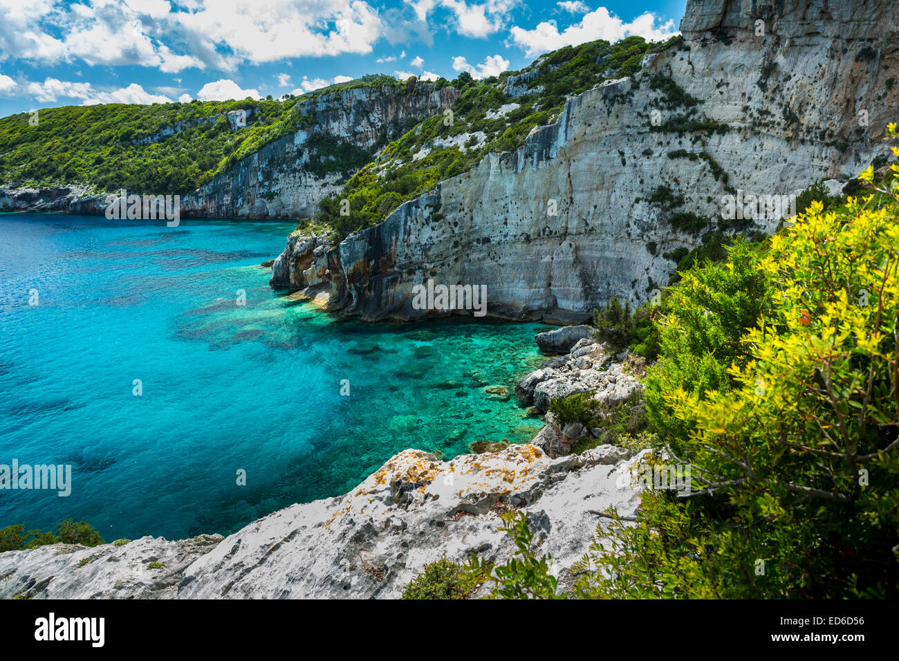 The blue caves and views of North Zakynthos, Greece - Stock Image
