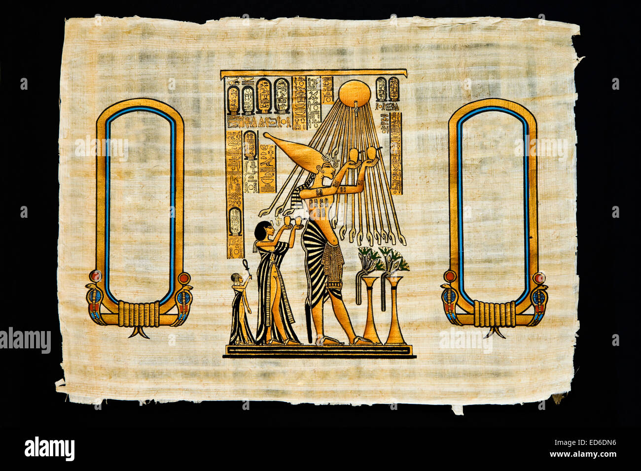 Sheet of Egyptian papyrus with ancient drawings, made in present days - Stock Image